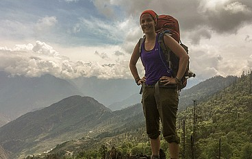 Ruby Valley trek in nepal, a women carrying bag in her Ruby valley trails
